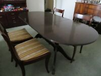 Mahogany table, 4 chairs and sideboard