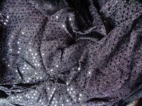 Purple, Blue, Gold & Black Sequin American Knit Stretch Fabric