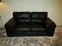 3 + 2 Black Italian Leather Sofa