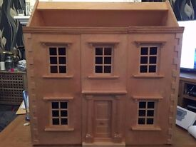 large dolls house, Georgian with wooden furniture.