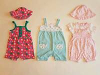 3 X Girls Summer Outfits 0 - 3 months