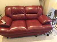 3 seater, 2 seater and chair. Red leather