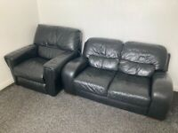 Leather sofa and recliner chair