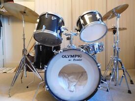 black premier drum kit including cymbals and hardware