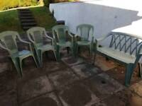 Garden chairs and bench