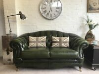 Vintage 2 seater green Chesterfield sofa. Can deliver