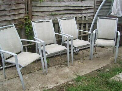 set 4 light grey metal and mesh garden chairs stackable