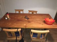 Large Dining Room Table Cast Iron Wood