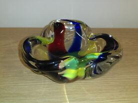 Multi Coloured Clover Shaped Glass Ashtray