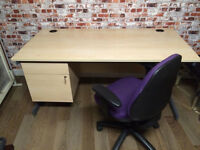 Large office desks with drawers, 160cm L, high quality