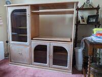 TV - Media centre solid wood unit.