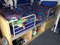 Mid-sleeper cabin bed and mattress with protective rails