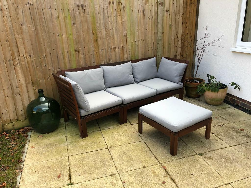 Ikea Applaro Outdoor Corner Sofa With Hallo Grey Cushions