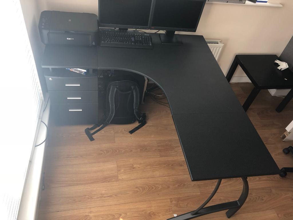 desk white corner oak beech felix tray ash felik and keyboard itm walnut black shelves