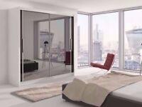 Exclusive Sale! Brand New Full Mirror 2 Door Sliding Berlin Wardrobe in Black Walnut White Wenge