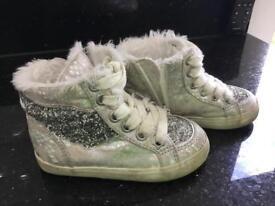 Girls size 6 glittery baseball boots by Next