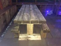 8ft custom made railway sleeper table and 2 benches