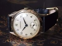Vintage solid 9ct 9k 375 gold Garrard mens watch (Military, Royal warrant)