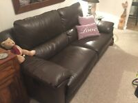 Reid Apsley 3 seater brown leather recliner (manual) sofa - excellent condition,