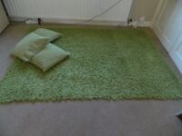 LARGE GREEN RUG WITH 3 CUSHIONS 200CMS X 143CMS