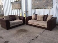 Beige & Brown Jumbo Cord 3 & 2 Seat Sofa Set - NEW - £299 Including Free Local Delivery