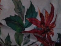 Brilliant traditional lined curtains, beautiful flower 19c pattern red green and white