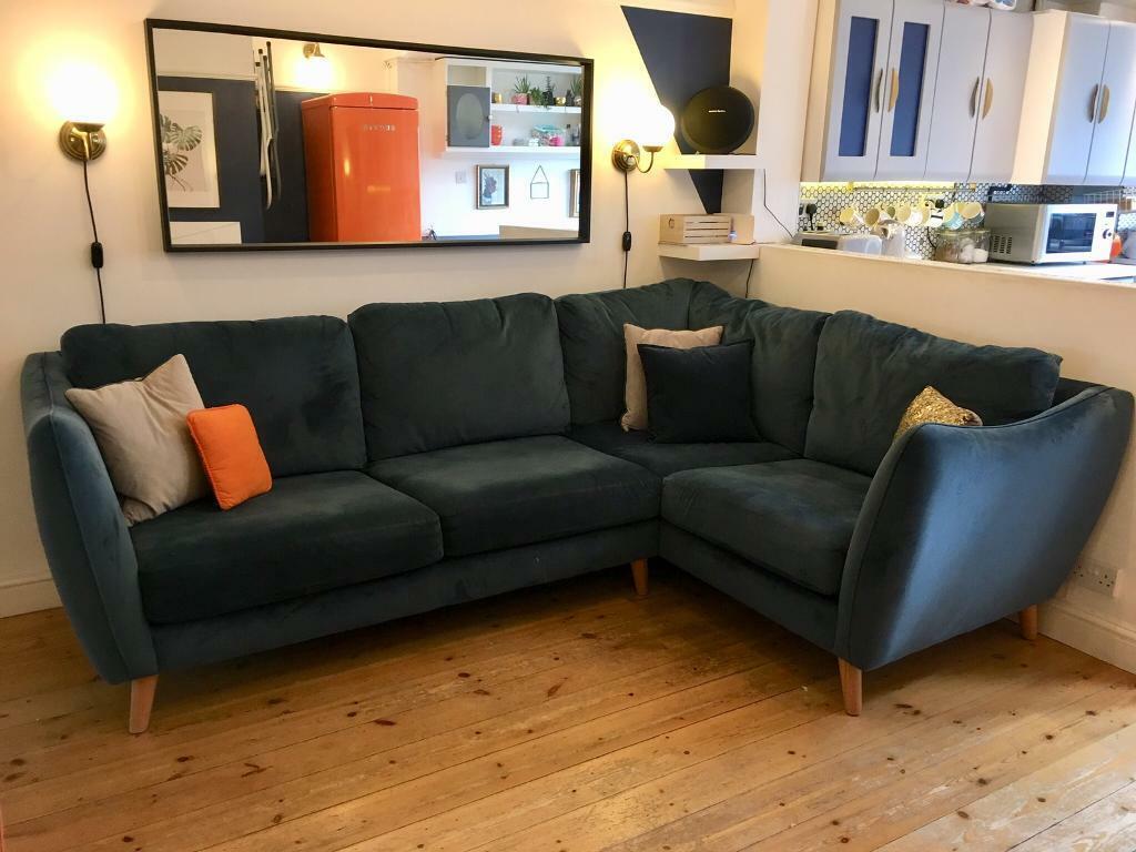 Navy blue velvet corner sofa and cuddle chair in - Navy blue velvet sofa ...