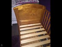 Wooden cot bed with storage