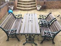 Garden Furniture - Wrought Iron Frame (includes Bench, Table and 2 Chairs)