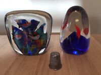 Pair of Murano paperweights on a fish theme