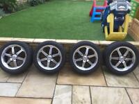 17in bk racing alloys VW Audi golf Honda Mazda multi fit with good tyres bolts