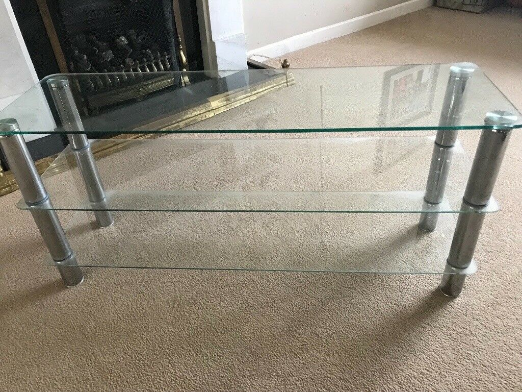 TV Stand Chrome and 3 Glass Shelves