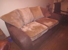 Brown hide and fabric Sofa