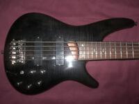 Ibanez SR705 BI , 5-String Active Bass Guitar. / Black Ice