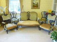 ANTIQUE ( Mid Victorian) Sofa and Chairs, 7 Piece Suite