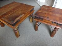 two wood coffee tables solid - £40