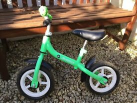 Kids balance bike, green