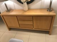 Solid Light Oak Large 2 Doors 3 Drawers Heavy Sideboard Unit Cupboards Side Console Table RRP £1,495