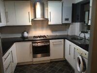 White gloss kitchen, worktops and appliances