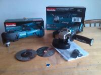 new makita 18v brushless angle grinder + quick realease multitool. dga455 + dtm51. dga455z+dtm51z