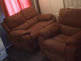 leather two seater sofa and arm chair recliners