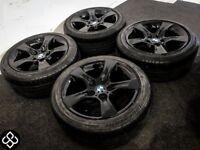 "GENUINE BMW 17"" ALLOY WHEELS WITH RUNFLAT TYRES - 5 x 120- CRYSTAL BLACK"