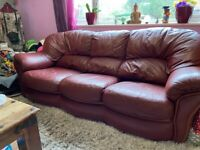 Sofa 3 seater leather burgundy red FREE