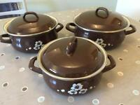 Set of three retro vintage cooking pans