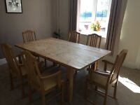 Large solid wooden dining table