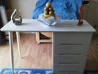 mid-century retro 60s desk/table in style of Paul McCobb with oak faux suede and/or leather chair