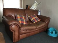2 leather brown sofas for sale
