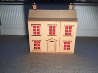 Wooden Dolls House fully furnished with dolls