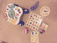 Preschool Toy Bundle - Activity Table, Puzzles, Leap Frog Dinasour and Fisher Price Counting Pig