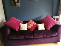 Habitat purple velvet 4 seater Louis sofa bed. Less than 1 year old, bed like new, removable covers